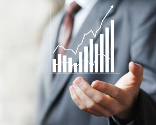 Man with chart business sign web diagram online